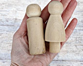 Vintage Bride and Groom Blank Plain DIY Cake Topper Peg Dolls