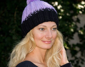 Purple hat pom pom hat handmade accessories hand knit cap women purple clothing purple cap lilac hand made hat hand made clothing for women