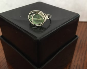 FREE SHIPPING! Light Green Ring Wire Wrapped - Size 6.5