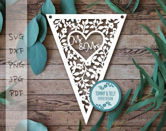 Bunting template etsy mr mrs bunting design svg dxf png pdf jpg papercutting template to print and cut yourself commercial use maxwellsz