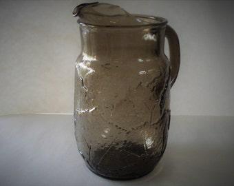 Vintage Smoky Glass Pitcher.