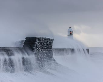 Stormy morning at Porthcawl Lighthouse - Welsh coast photo print - 18x12 or 12x8 inch - Storm Wales