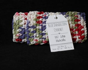 Pair of Washcloths, Crochet washcloths, Washcloths, Cotton Washcloths, Colorful Washcloths, Two Washcloths
