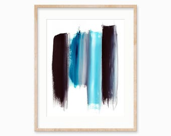 Black and Blue Abstract Brush Strokes. Printable Artwork. Instant Download. 5 x 7, 8 x 10, 11 x 14.