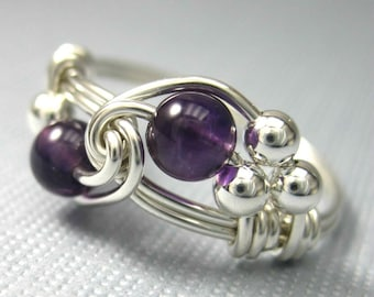 Amethyst Ring Birthstone Jewelry Wire Wrapped Sterling Silver Birthstone Ring - All Birth Months Available - Duet