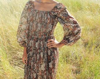 BRAMBLE Vintage Dress  Lace Dress  1970's Floral Lace Bohemian Sheer Earth Tones Maxi dress Poet Sleeve