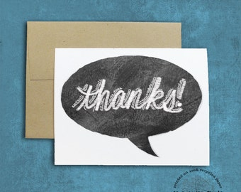 thanks! Chalkboard Lettering Design Thank You Card on Recycled Paper thank you note teacher thank you