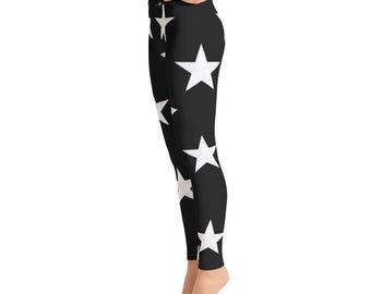 Black White Stars Yoga Leggings, Capri Yoga Pants, Sport Stretch Leggings, Fitness Workout Yoga Pants Joggers Active,Solid Colors Leggings