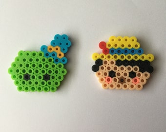 Pinocchio perler bead ~ Pins or Magnets ~