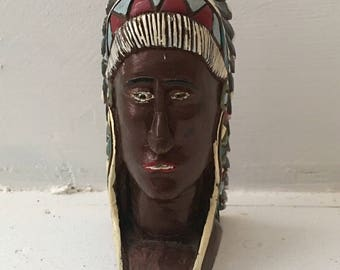 Vintage Hand Carved Wooden Folk Art Sculpture Native American Indian Chief Head Bust