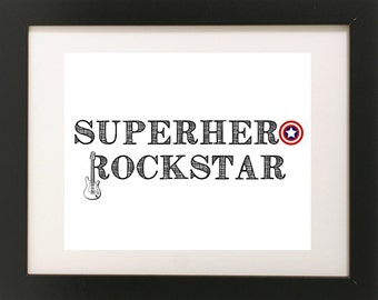 Superhero Rockstar Print // Superhero Art // Superhero Decor // Boys Wall Art // Rockstar Print