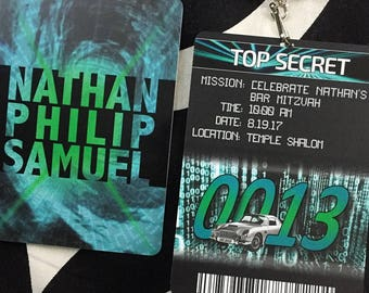 Secret Agent Mission Pass Invitation with Lanyard and Lux Gloss