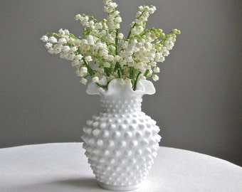 Vintage Fenton Milk Glass Hobnail Vase - Studded Milk Glass Vase - White Vase Narrow Neck - Simple Neutral Decor