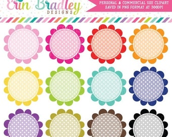 80% OFF SALE Polka Dotted Circles Clipart Instant Download Digital Clip Art Graphics Personal & Commercial Use