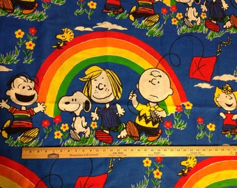 9 sq yds Vintage Peanuts and gang Characters fabric with Lucy Charlie Brown Linus Snoopy rainbows and kites