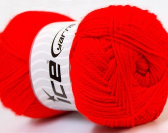 balls of yarn in red brand ICE 100grs