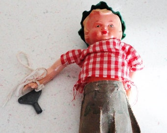 Antique Celluloid Boy Doll With Key for Windup Collectible