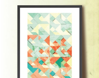 Spring Tangram, Geometric Print, Abstract A3 Poster Print. Geometric Wall Art. Home & Office Decor. TangramArtworks Geometric print.