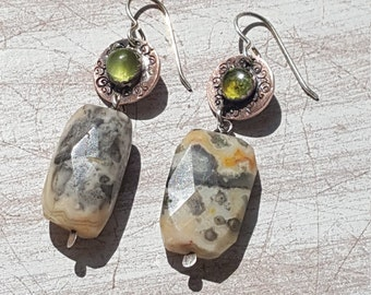 Beach Dreams Ocean Jasper and Peridot Drop Earrings