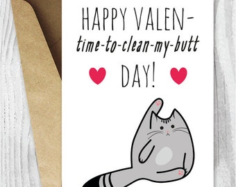 Valentine Card Printable, Funny Valentines Day Card, Funny Cat Valentines Card, Anti Valentine Cards Digital Download, Grey Cat