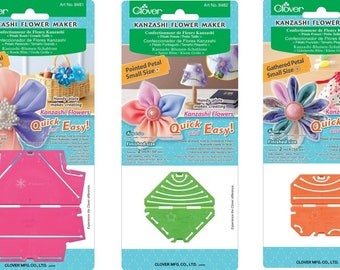 Clover Kanzashi Flower Maker- Round Petal Large (8481), Pointed Petal Small (8482), Gathered Petal Small (8484)
