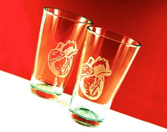1 Anatomical Heart Etched Pint Glass