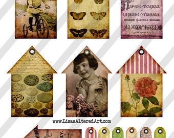 Digital Collage Sheet  House Tags  with Thank you tags (Sheet no. O180) Instant Download