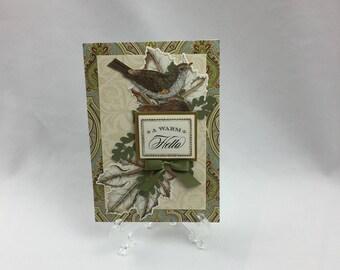 Anna Griffin, Handmade Card, A Warm Hello, Sister, Daughter, Friend, Mother, Wife, Bird