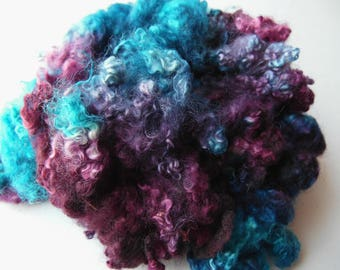Teeswater dyed locks Turquoise and Wine blythe, doll hair, lock spinning, tail spinning, felt, felting