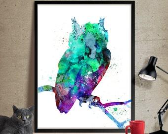 Watercolor Owl Painting, Owl Art Print, Watercolor Art, Watercolor Painting, Animal Art, Owl Art Bird Print, Watercolor Animal Nursery (128)