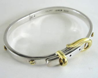 Sterling Buckle Bracelet Brass Signed Vintage 31 GRAMS  Screw Accents Cuff Bangle