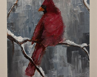Red Bird Art * CARDINAL EXPRESSIONIST Style * Giclee Print on CANVAS of original painting * Wildlife * Ready to Hang