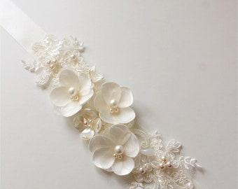 Ivory Bridal belt, Bridal sash ,Wedding dress belt sash ,Flower Pearl Bridal  belt ,Wedding Accessories,Bridal accessories