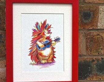 Watercolour Pencil Drawing Hedgehog with Guitar - Animal Art - Nursery Wall Art Print – New Baby Gift – Music Print – Cute -Whimsical Art