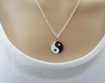 silver necklace yin yang necklace handmade jewellery black and white yin and yang fashion jewellery yin yang charm necklace gift for her