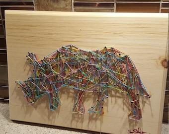 Abstract rainbow rhino string art