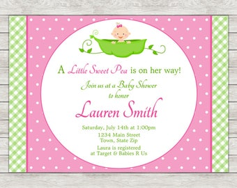 Sweet Pea Baby Shower Invitation Girl, Pink Sweet Pea Invitation - Digital File (Printing Services Available)
