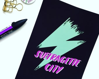 Suffragette City Digital Print/ Suffragettes Votes for Women Art/ David Bowie Lightning Bolt/ Hand Lettering Wall Art