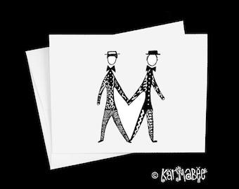 Gay Wedding Card Male Wedding Notecard Blank Inside