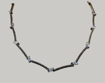 Sterling Silver topaz with marcasites necklace