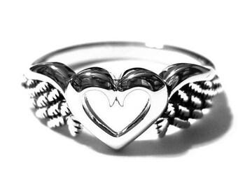 Angel Ring, Angel Heart Ring, Heart Ring, Sterling Silver Ring, 925 Sterling Silver Ring, Sterling Silver Angel Ring, Angel Wings Ring