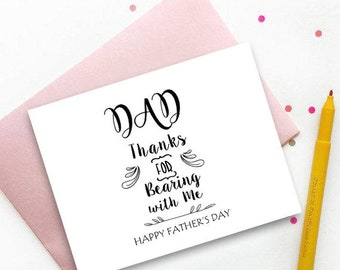 Printable Fathers day card, Thank you dad print, happy father's day, father's day greeting card, instant download