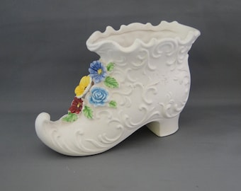 Napoware Hand Painted  Porcelain Ladies Boot Planter or Vase