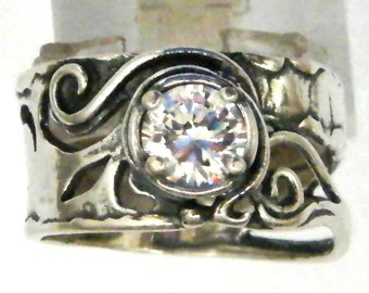 Sterling silver ring set with zircons stones. Israeli designer bohemian ring