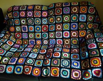 Handmade crochet granny square throw