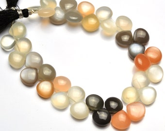 Natural Gemstone Multicolor Moonstone Smooth Heart Shape Briolette 8 Inch Full Strand 10MM Approx. Super Quality Hand Polished Beads