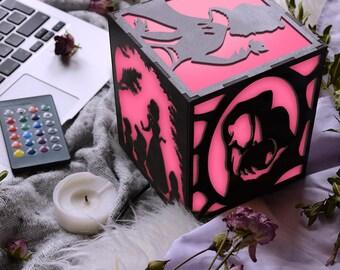 Pink night light, Pink room decorations, Pink table lamp, Pink table decor, Pink bedroom decor, Pink lamp shade, Pink led light, Pink color