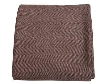 Brown Herringbone Cashmere Throw 135 x 270cm