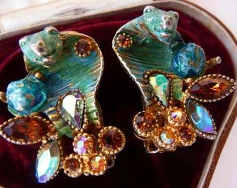vintage HAR signed Cobra clip earrings | very rare collectible | 1955 1967 | fantasy figural | vintage earrings | Hargo Creations