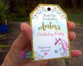 Printable Unicorn Tags, Thank you tags, Birthday Tags, Printable Thank you Tags, Unicorn Birthday Party, Gift tags, Custom download